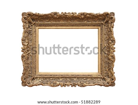 Medieval picture frame (sapia tone), isolated on white background