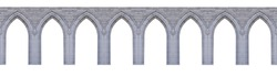 Medieval pointed arches isolated on white background. Elements of architecture, ancient arches, columns, windows and apertures
