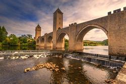 Medieval Pont de Valandre bridge in south west France