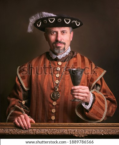 Medieval portrait of man in king costume.