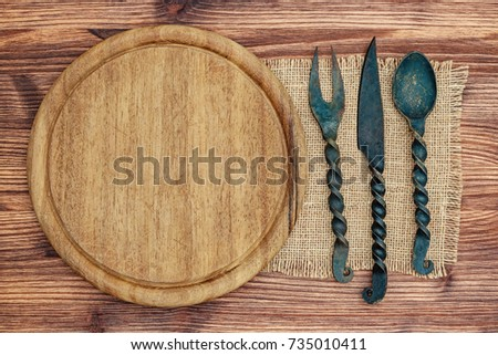 medieval round wooden plate and ...