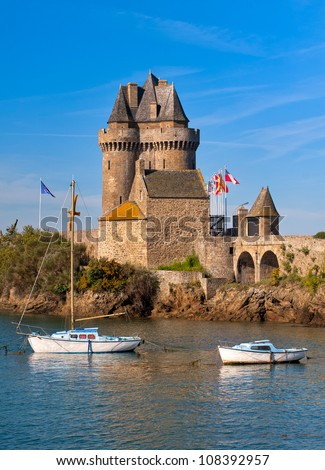 Medieval sea castle tower of Solidor in St Malo, Brittany, France