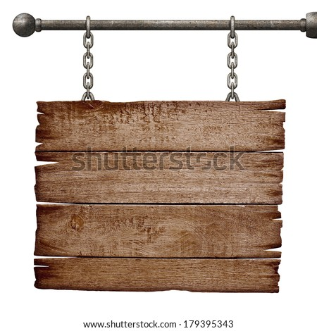 medieval signboard hanging on chain isolated on white