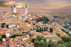 medieval Spain - Toledo over sunset