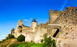 Medieval stone fortress wall view. Fortress view. Castle fortress landscape