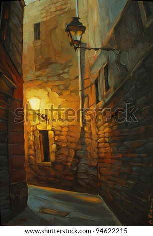 medieval street in gothic quarter of barcelona, painting, illustration