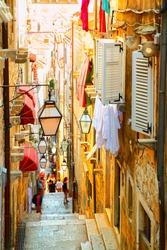 Medieval street in old town of Dubrovnik, Croatia