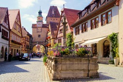 Medieval street in Rothenburg ob der Tauber, Germany