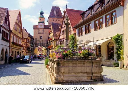 Medieval street in Rothenburg ob der Tauber, Germany