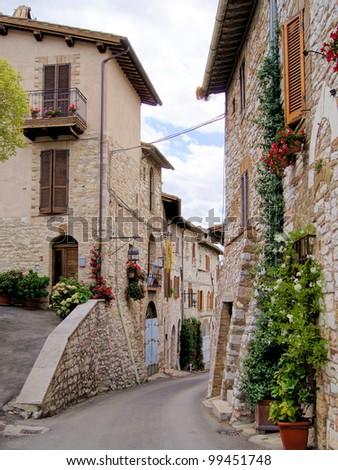 medieval street in the italian...
