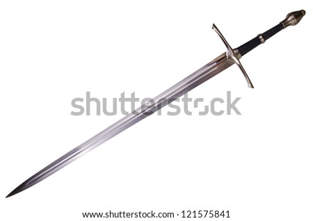 Medieval sword isolated on white background disposed by diagonal