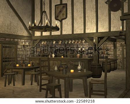 La Isla de los Malditos Stock-photo-medieval-tavern-22589218