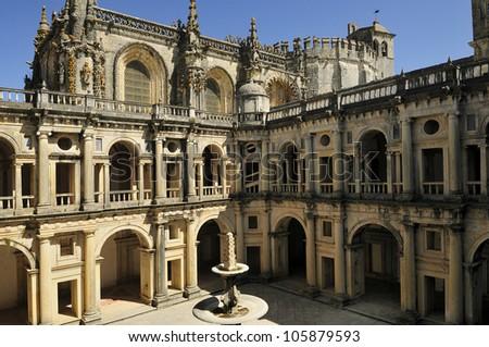 Medieval Templar castle in Tomar, Portugal. Landmark in Europe.