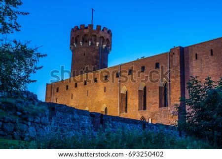 Medieval Teutonic castle in Swiecie at night, Poland Zdjęcia stock ©