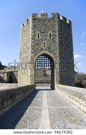 Medieval tower of the village of Besalu.Girone.Spain