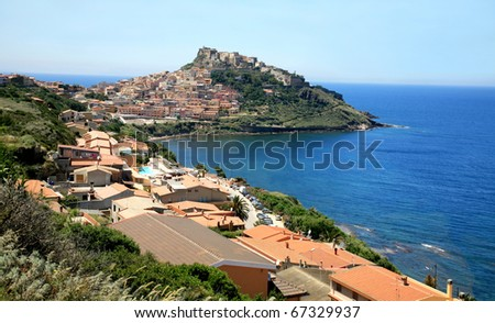 Medieval town Castelsardo on Sardinia, Italy with traditional houses