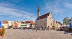 Medieval Town Hall and Town Hall Square of Tallinn, the capital of Estonia. Stitched Panorama