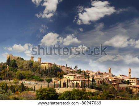 Medieval town Montalcino, Val d'Orcia, Tuscany, Italy, UNESCO World Heritage Site