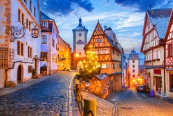 Medieval town of Rothenburg ob der Tauber at night, Romantic Road in Bavaria, Germany