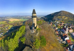 Medieval town of Stramberk with gothic castle and Truba Tower, Moravia, Czech Republic.