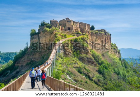Medieval town on the mountain - Civita di Bagnoregio, popular touristic stop at Tuscany, Italy.