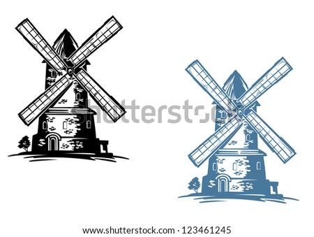 Medieval vintage windmill building for agriculture industry design
