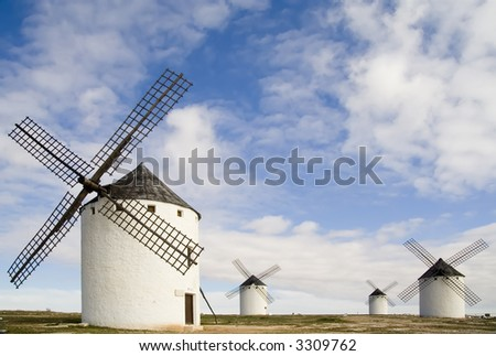 Medieval windmills dating from the 16th century overlooking the town of Campo de Criptana in Ciudad Real province, Castilla La Mancha, central Spain.