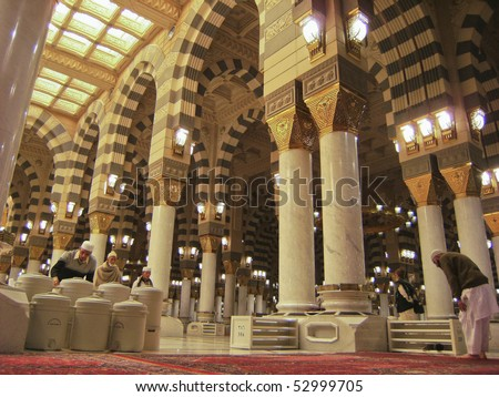 MEDINA-JAN 12 : Interior of Masjid Nabawi Jan 12, 2008 in Medina, Saudi Arabia. Nabawi Mosque is the second holiest mosque in Islam and here is Prophet Muhammad is laid to rest