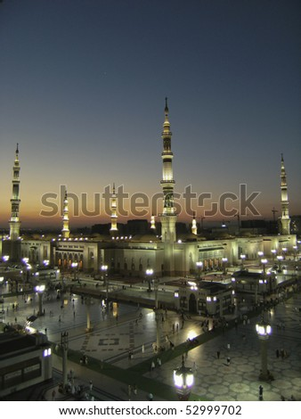 MEDINA, KINGDOM OF SAUDI ARABIA (KSA) - JANUARY 11 : External view of Masjid Nabawi on January 11, 2008 in Medina, KSA. Nabawi Mosque is the second holiest mosque in Islam.