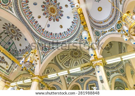 MEDINA-MAR 8 Interior of Masjid Nabawi March 8 2015 in Medina Saudi Arabia Nabawi Mosque is the second holiest mosque in Islam and here is Prophet Muhammad is laid to rest