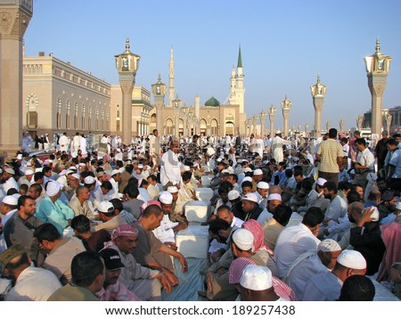 MEDINA SAUDI ARABIA KSA OCTOBER 8 Muslims get ready to pray around Nabawi Mosque October 8 2007 in Medina KSA Muslims from all over the world visit this place would do