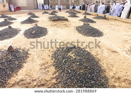 MEDINA SAUDI ARABIA MAR 08 Baqee grave outside Nabawi Mosque at March 08 2015 in Medina Saudi Arabia Jannat Al-Baqee is one of the largest cemeteries in the Muslim world