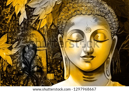 Meditating Lord buddha in yellow with leaf canvas texture background oil painting