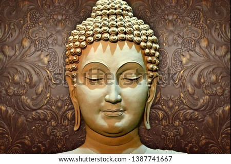 Meditating Lord Buddha on decorative  textured ornamental floral pattern brown background 3D wallpaper-Illustration. Modern artwork Graphical poster