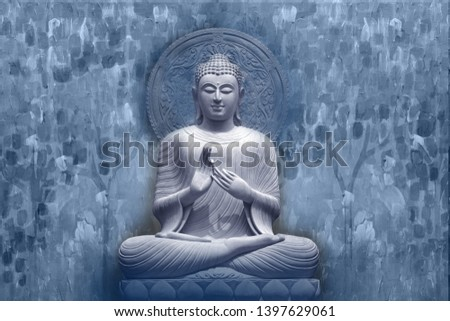 Meditating Lord Buddha on decorative  textured pattern blue background 3D wallpaper-Illustration. Modern artwork Graphical poster