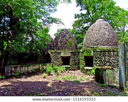 meditation cells at Maharishi Ashram, Beatles shrine in Rishikesh, India