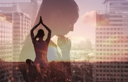 Meditation, healthy mind and body, stress management concept.