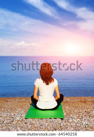 Meditation in pose of lotus. Spiritual scene.