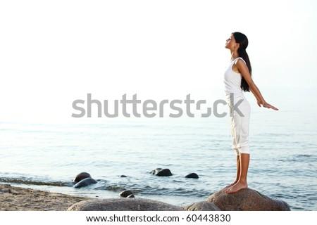 meditation on ocean sand
