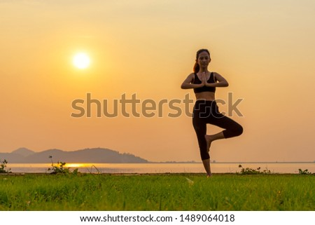 Meditation yoga spirit lifestyle mind woman peace vitality outdoors in the nature, relax vital abstract. Healthy and Lifestyle Concept.