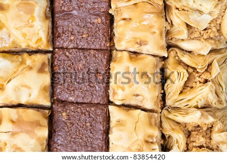 Mediterranean baqlawa sweets as a background image