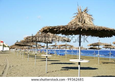 Mediterranean  beach in Larnaca, Cyprus.