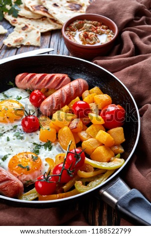 Sausage and sunny side up fried egg for breakfast image
