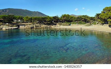 Mediterranean cove with clear water and pebble beach in Cadaques, Costa Brava, Catalonia, Spain