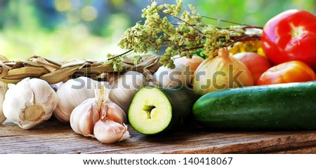 Mediterranean cuisine Ingredients on table