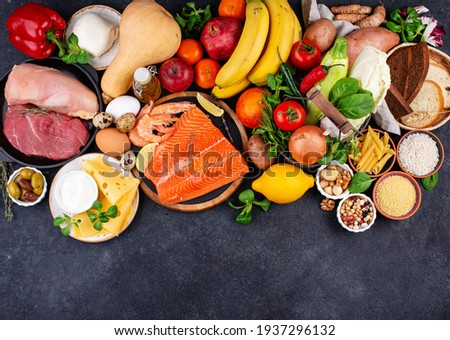 Mediterranean diet. Healthy balanced food. Paleo or flexitarian organic eating with fruit, vegetables, seafood and meat