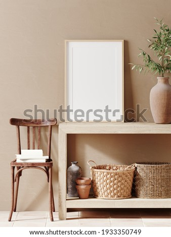 Mediterranean interior template. Mockup poster frame, wooden chair, basket and terracotta pottery on beige background. 3d rendering illustration. Clipping path included.