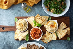 Mediterranean mezze board with pita, hummus, tomato dip and baba ganoush