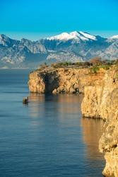 Mediterranean sea along the falez in Antalya Turkey