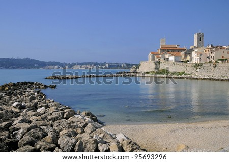 Mediterranean sea and walled town of Antibes in southeastern France